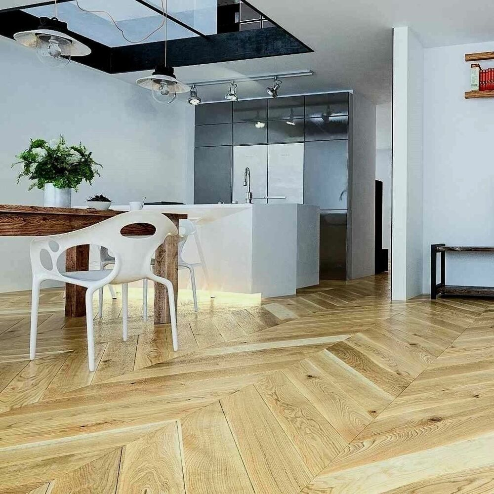 Details about French Chevron XL Parquet Engineered Clear