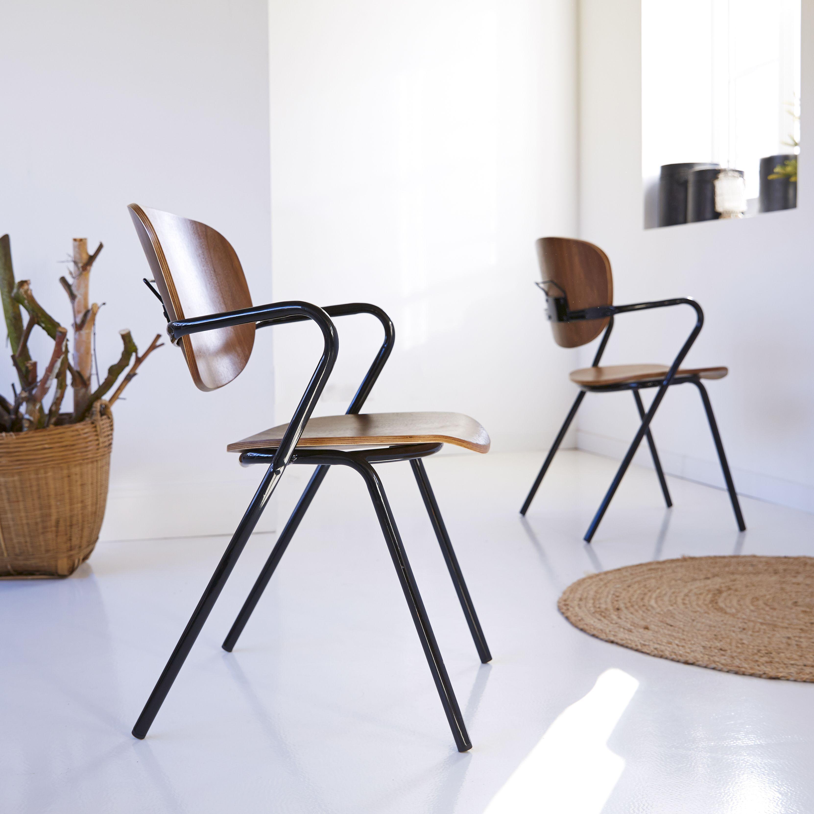 Ada Walnut And Metal Chair Sedie