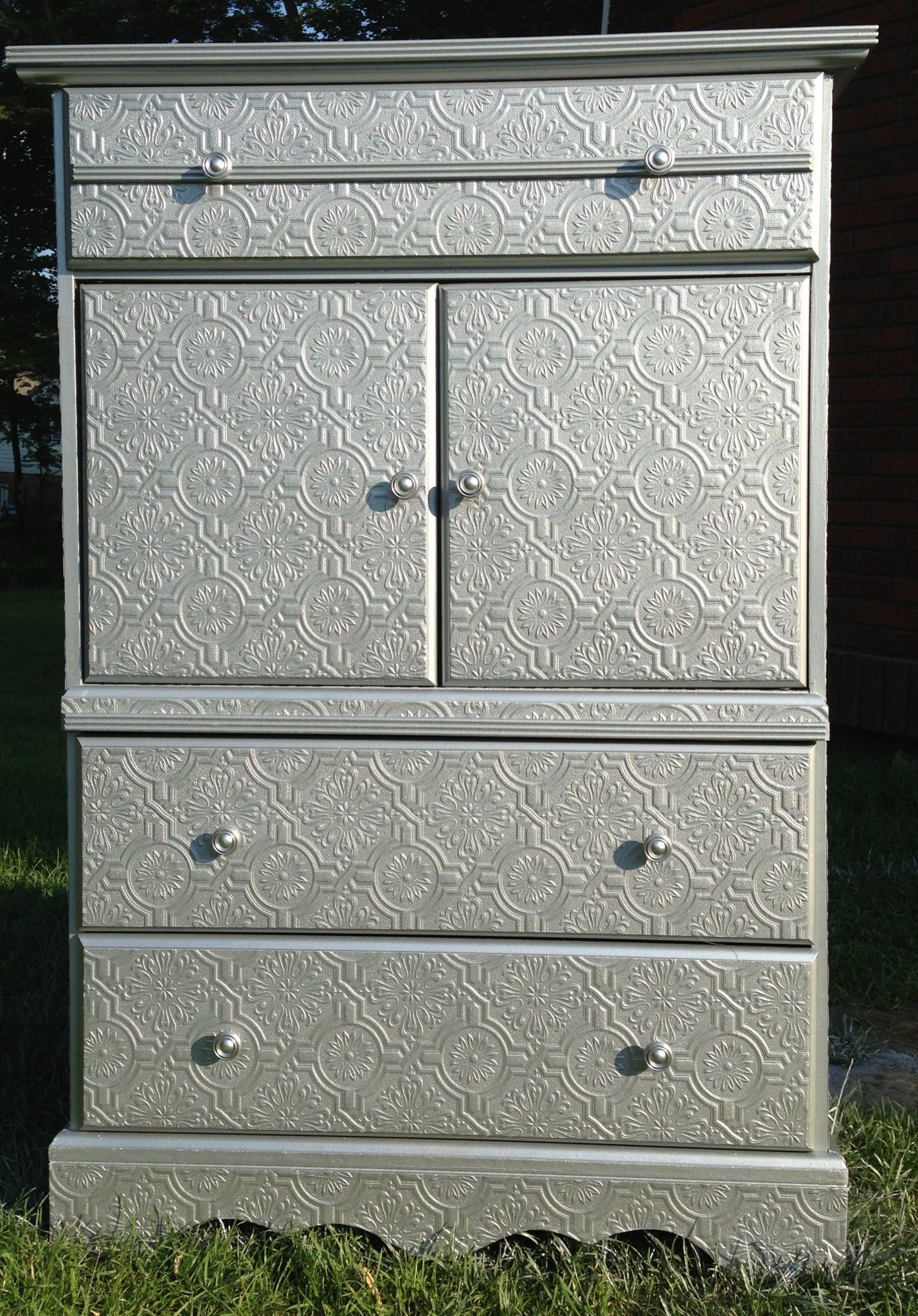 Wallpapered Dresser And Silver Metallic Paint Diy