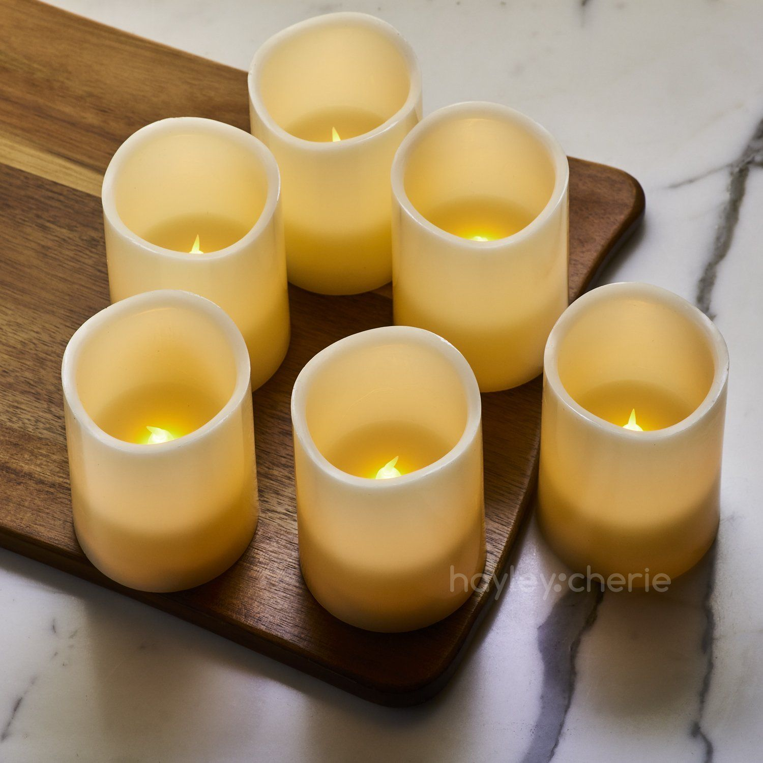 Hayley cherie real wax flameless candles with timer set of