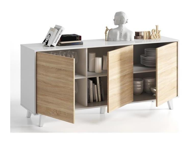 Zaiken Plus Buffet Scandinave Blanc Brillant Et Decor Chene Canadien L 154 Cm Generique 478488 Home Decor Shelves Decor