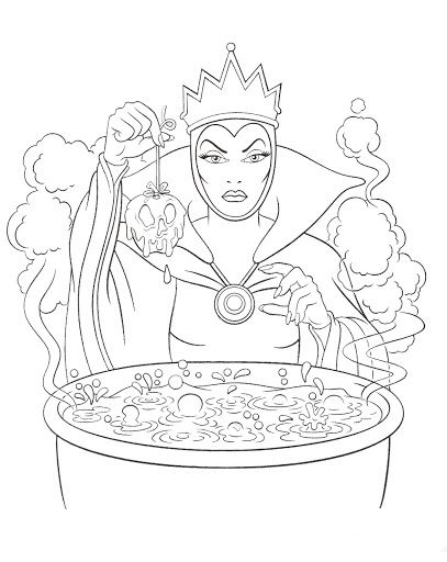 Disney Villains Coloring Page Wicked Queen Disney Coloring Pages