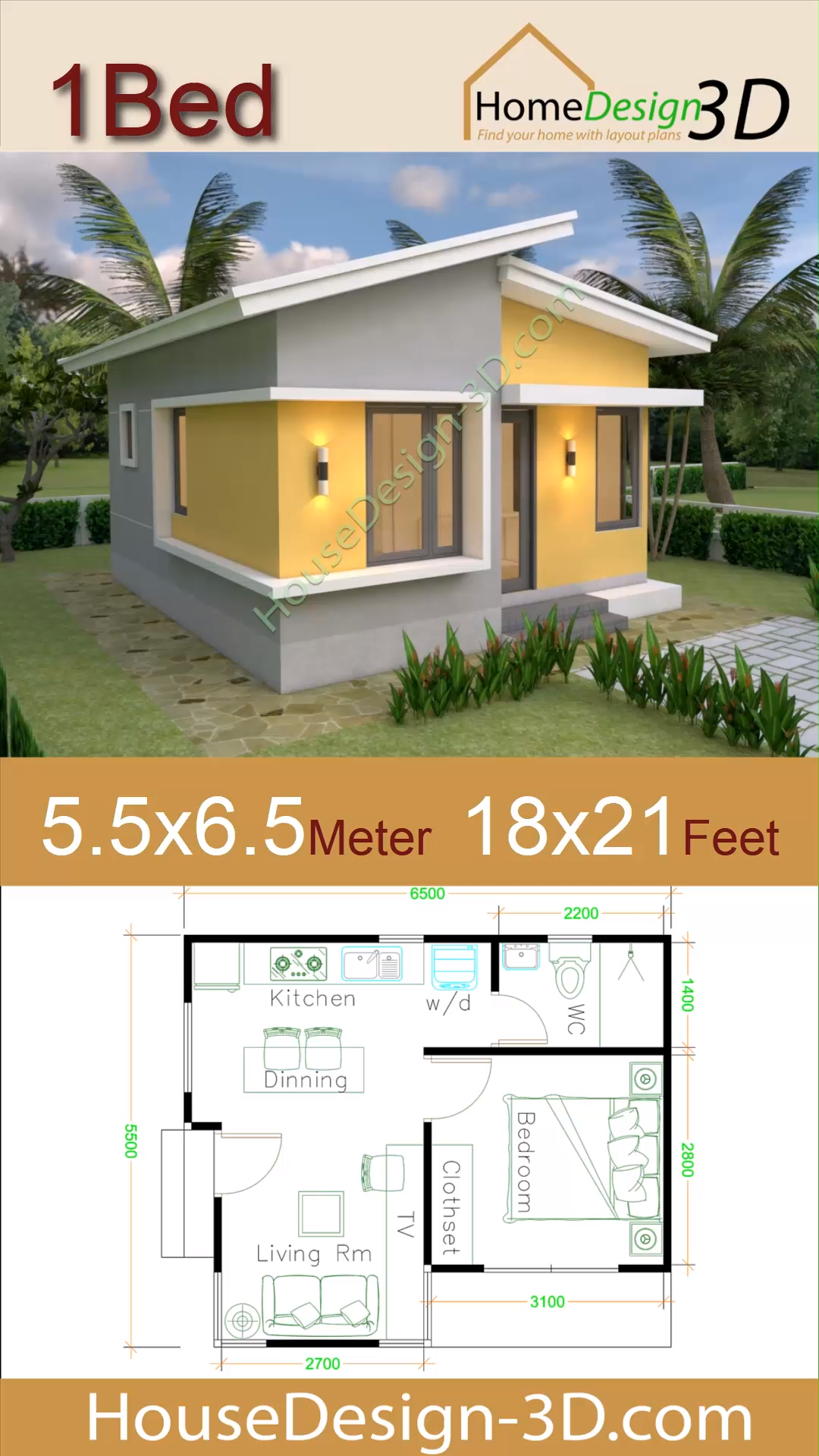 Small House Plans 5 5x6 5 With One Bedroom Shed Roof Video Small House Design Small House Plans House Plans