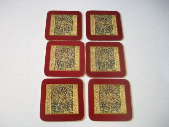 Floral Tapestry Coasters Vintage Cloverleaf Laminated Cardboard And Cork Drink Coasters Tree Flowers Set Of 6 England Floral Tapestry Tapestry Coasters