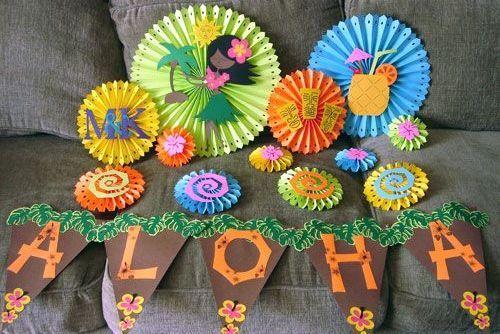 centros de mesa para fiesta hawaiana infantil - Buscar con Google