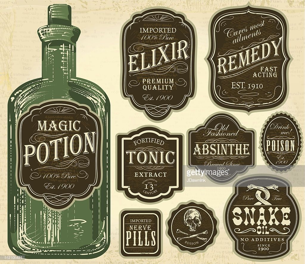 Set Of Assorted Old Fashioned Labels With Bottle Just Place Label