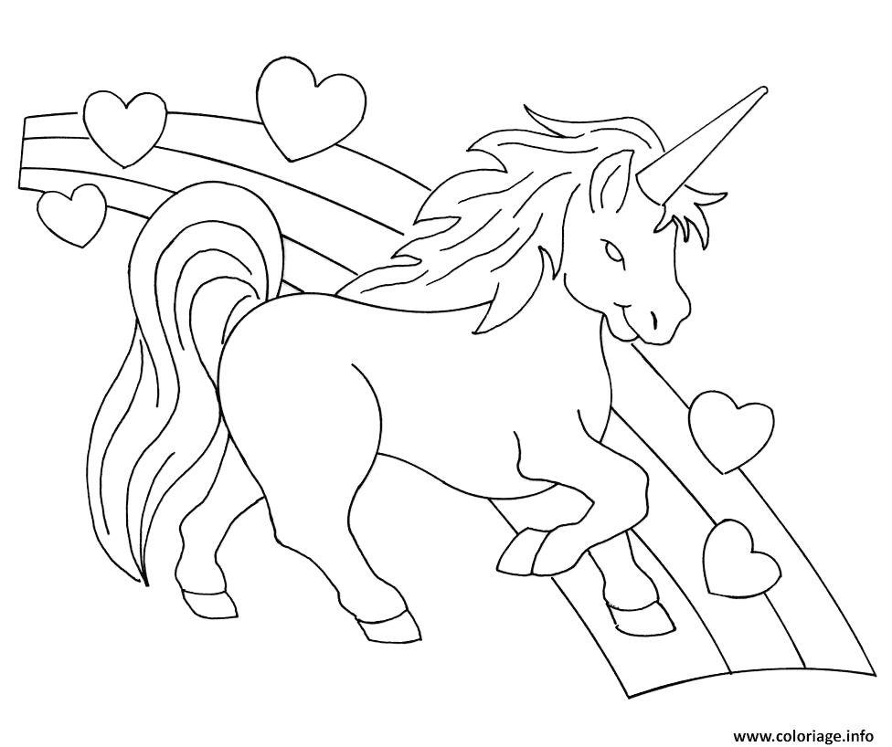 Coloriage Arc En Ciel Et Princesse.Coloriage Arc En Ciel Licorne Coeurs Dessin Avec 1522202909arc En