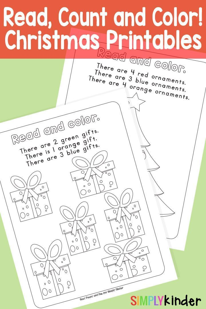 Read, Count and Color Christmas Printables | Count, Simply kinder ...