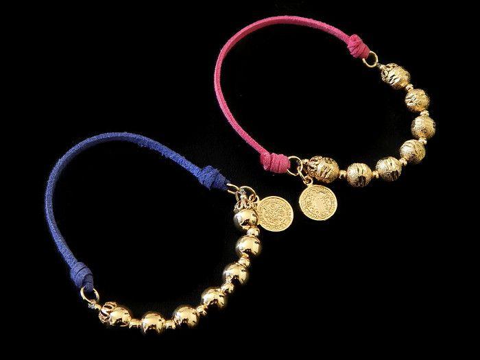 fdab3322bb22 PGSB Hermosa pulsera en chapa de oro 14k, gamuza sintética con ...