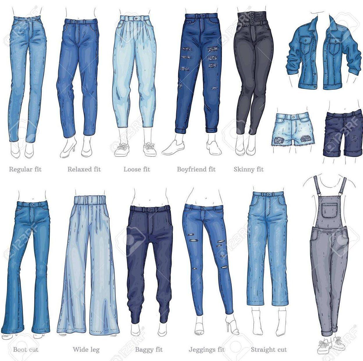 Vector Denim Pantalons Feminins Shorts Et Veste Jeu D Icones De Croquis Mode Decontractee Tro Art In 2020 Fashion Drawing Fashion Design Sketches Type Of Pants