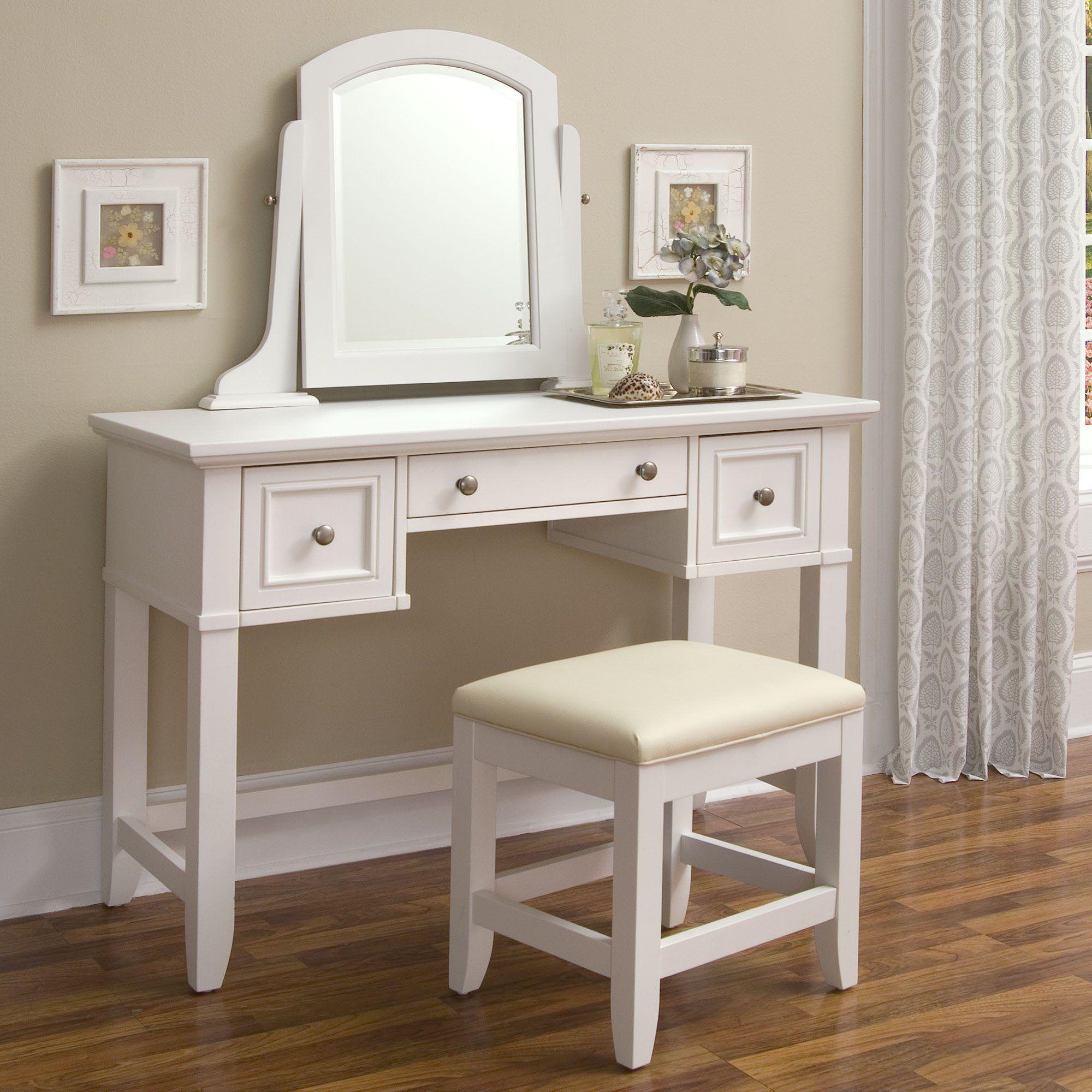 Vanity desk; cream/ white. simple cushion chair Meja