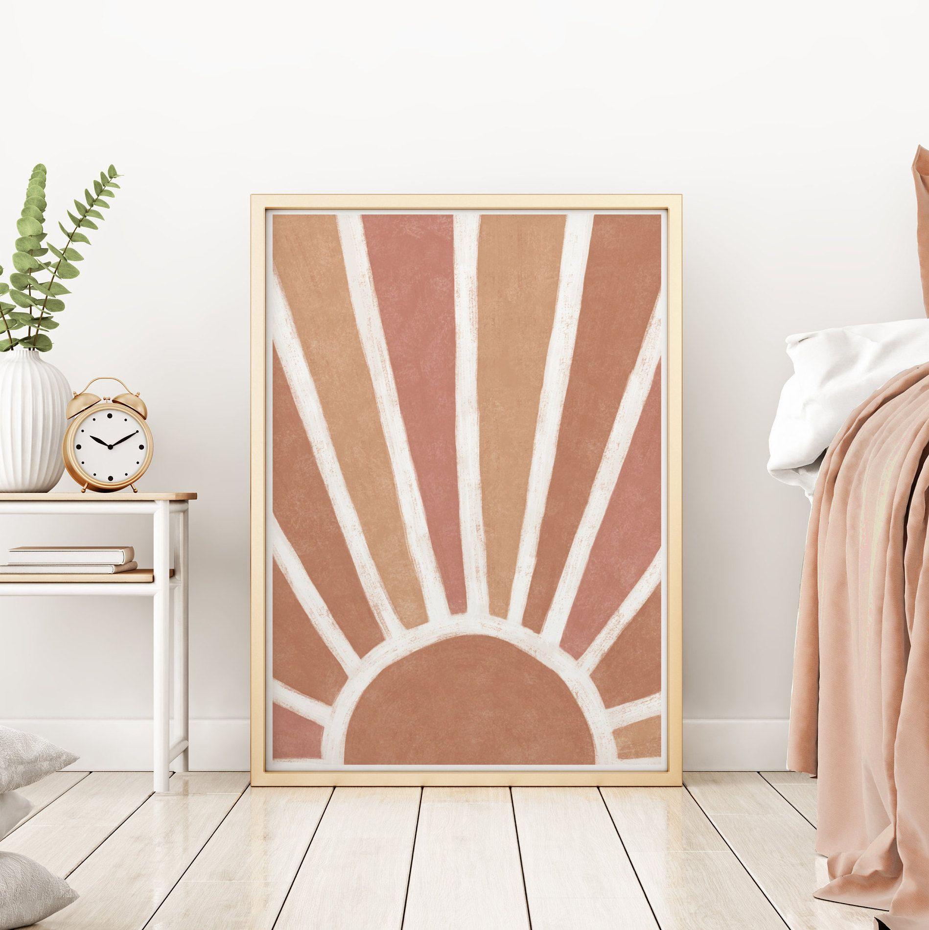 Abstract Sun print boho decor, Mid Century Modern ... on Modern Boho Wall Decor  id=27506