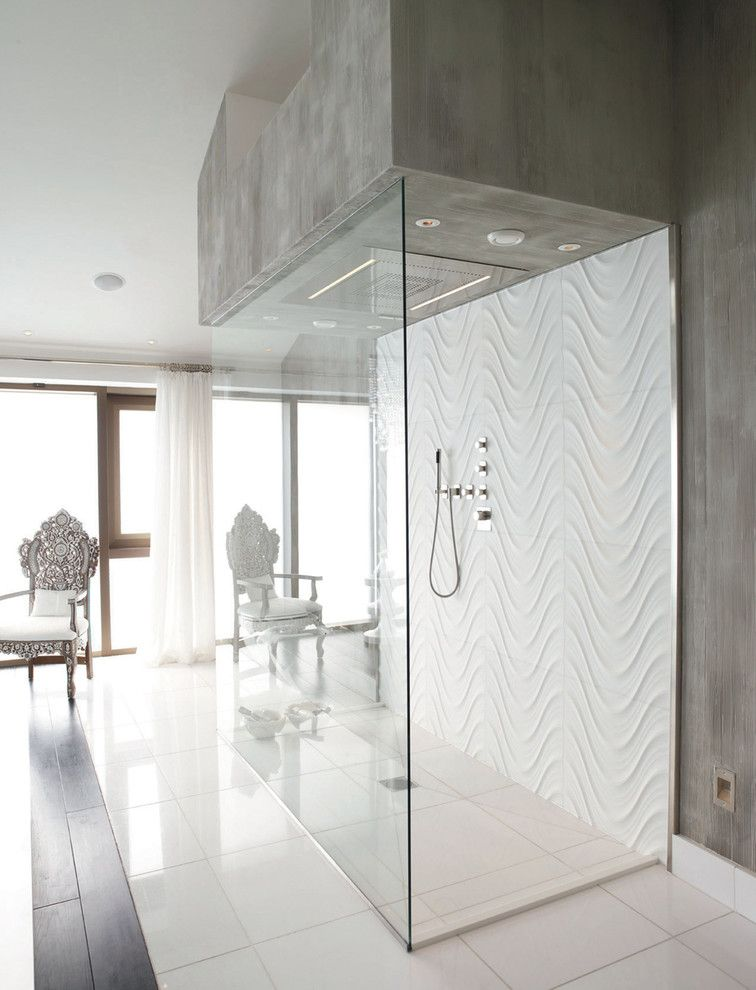 Seta Carrara Wave Tile Shower Back And Thassos Floor Tiles Visit The Lapicida Showroom In The First Flo Contemporary Bathroom Beautiful Bathrooms Shower Tile