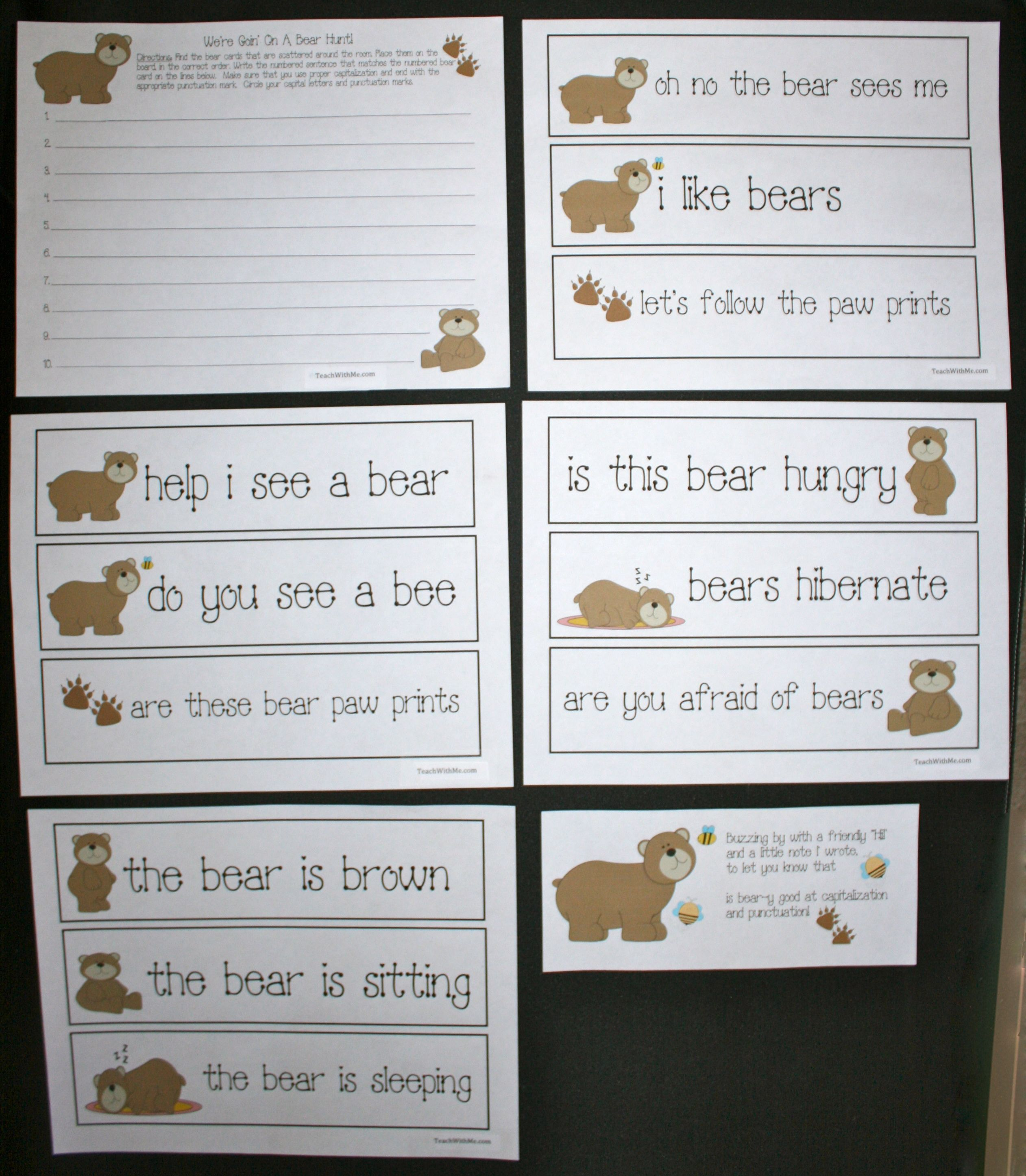 We Re Goin On A Bear Hunt Punctuation Activity