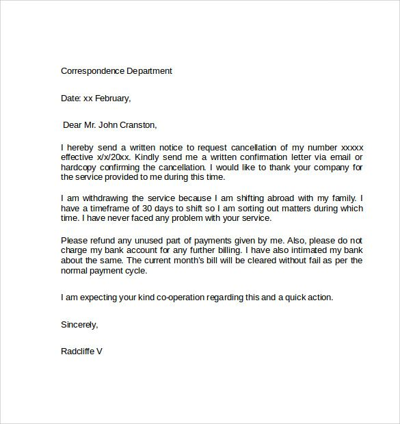 Sample Notice Cancellation Letter Free Documents Pdf Word Business