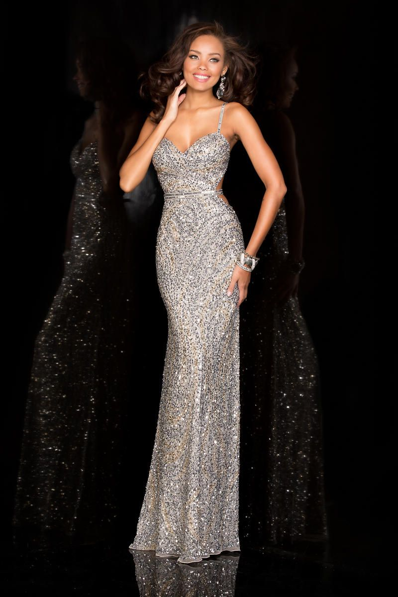 long silver fitted fully beaded prom dress ypsilon dresses  a3924da14