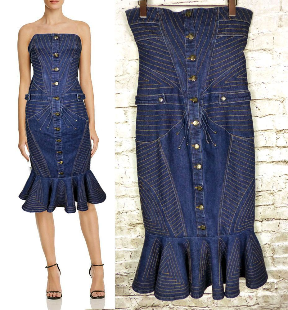 b9ba18bba1 Just Cavalli Womens US 8 IT 44 Strapless Contrast Stitch Denim Fishtail  Dress #Cavalli #WigglePencilGownFishtailDress #Casual