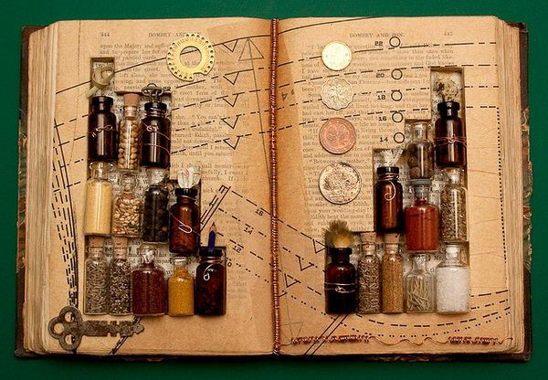 The Alchemy of Existence - 20 Clever and Cool Old Book Art Examples, http://hative.com/old-book-art-examples/,