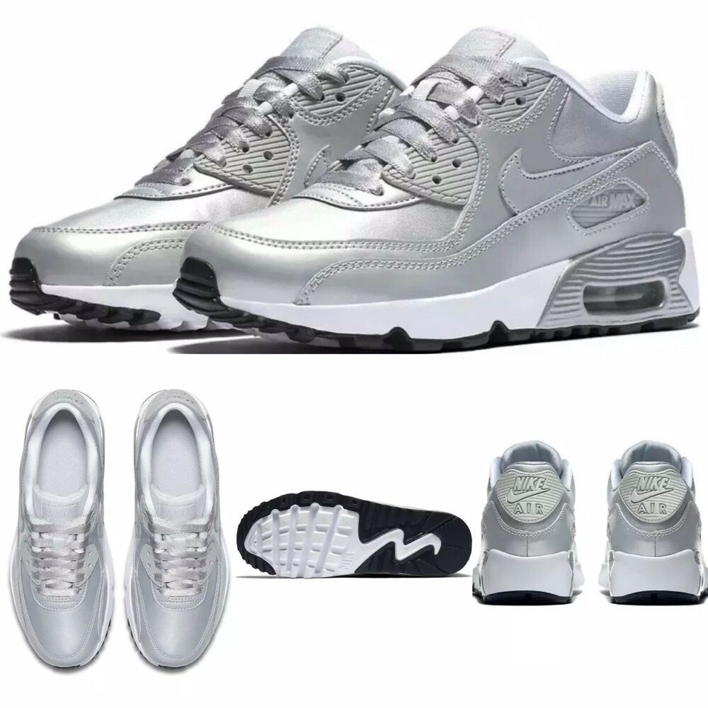 Nike Air Max 90 SE LTR GS Youth Ladies Shoes Pure Platinum