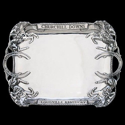 Regally crafted with equestrian themes, the Churchill Downs Clutch Tray is a handsome addition to entertaining.