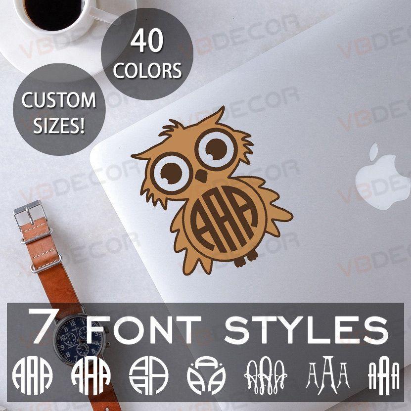 Owl Monogram Decal Yeti Cup Monogram Decal Wall Monogram - Owl custom vinyl decals for car