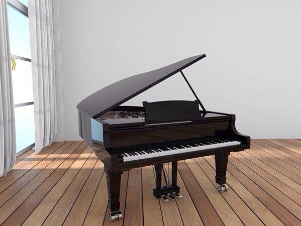 I'm not a big fan of the black baby grand. Oh well... #piano #black #baby #grand #instarender #render #thea #c4d #magic #archviz #interior #design by wengfai79