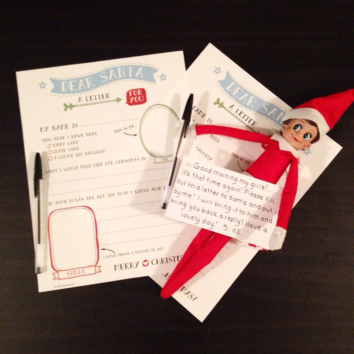 Elf brought letters to fill out for Santa! (With images