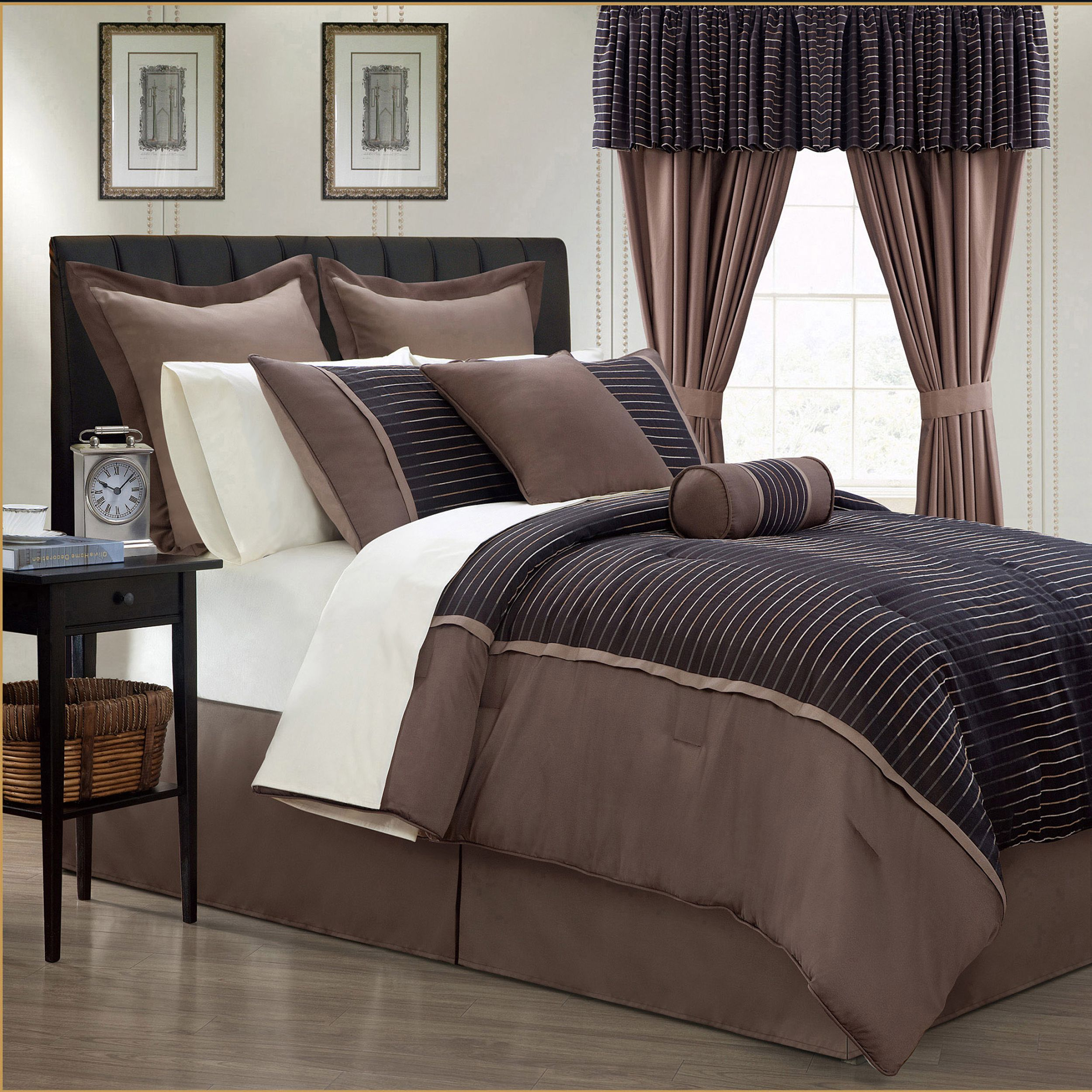 update your bedroom with the purchase of this piece bed in a  - limbo piece brown contemporary bed in a bag with sheet set