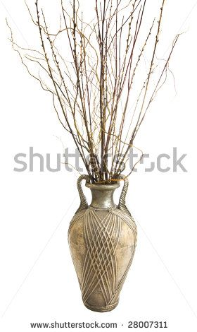 Large Antique Floor Vase With Decorative Sticks Arrangement