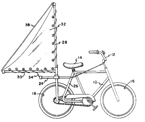 US 6932368 B1 - Apparatus for harnessing wind to drive a bicycle - Vladamir Zam, 2005