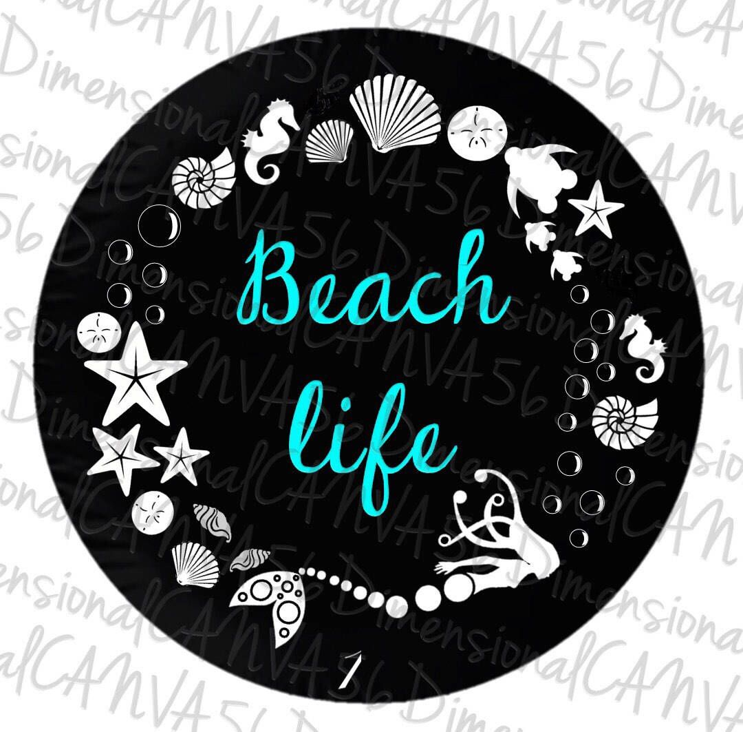 Life is Better in Flip Flops Ocean Sea Life Palm Tree Spare Jeep Tire Cover