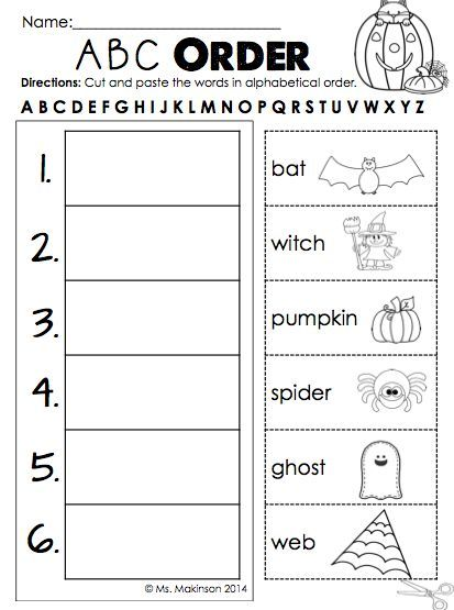 October Literacy, Math, And Science Printables For First Grade - ABC Order  First Grade, Abc Order, October Classroom