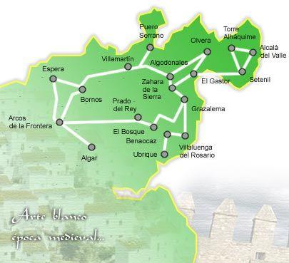 Mapa Pueblos Blancos Cadiz.Mapa De La Ruta De Los Pueblos Blancos En Cadiz Cadiz