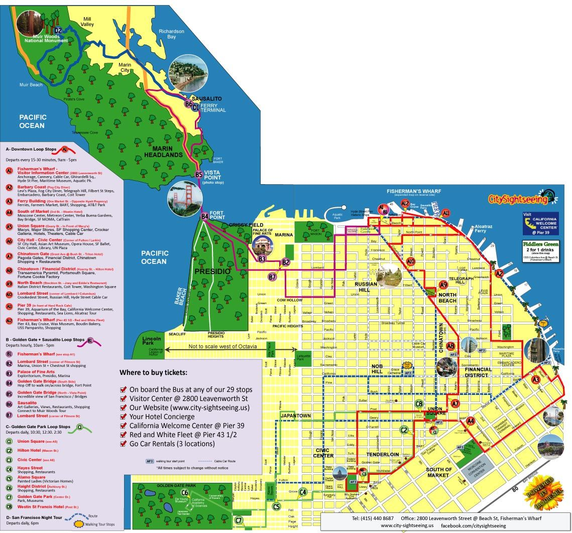 City Sightseeing San Francisco   Sightseeing Tour Map | Bucket
