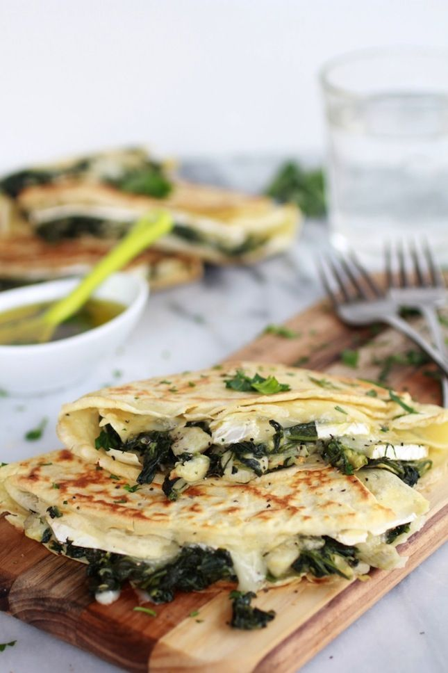 Stuff crepes with spinach, artichoke hearts and brie to make this dish.