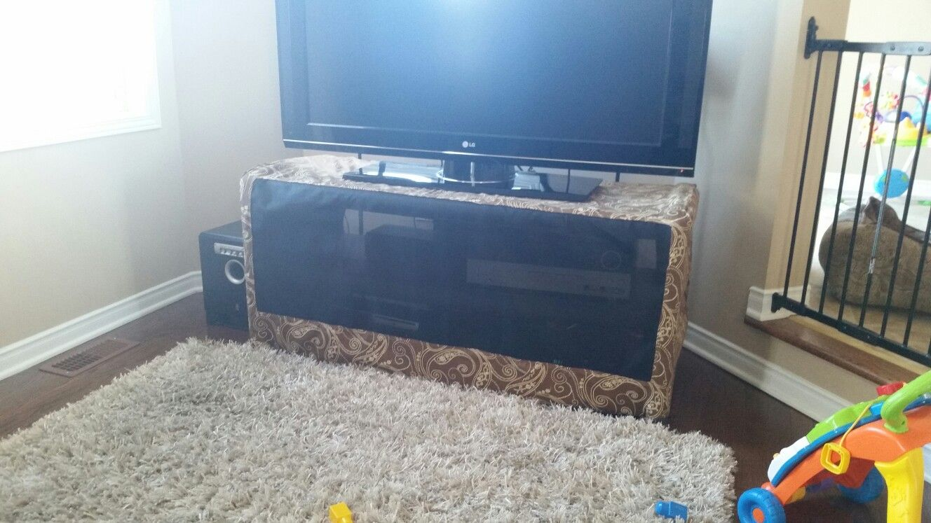 Baby Proofing The Tv Stand So Baby Doesn T Play With The Buttons Fabric And Heavy Duty Screen Baby Proofing Tv Stand Baby