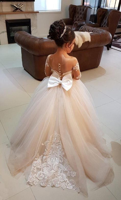Ball Gown Round Neck Light Champagne Tulle Flower Girl Dress with ...