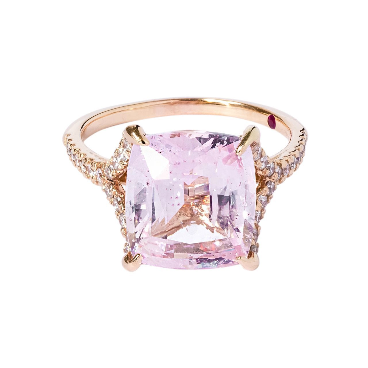 Padparadscha sapphire ring in rose gold unique diamond engagement