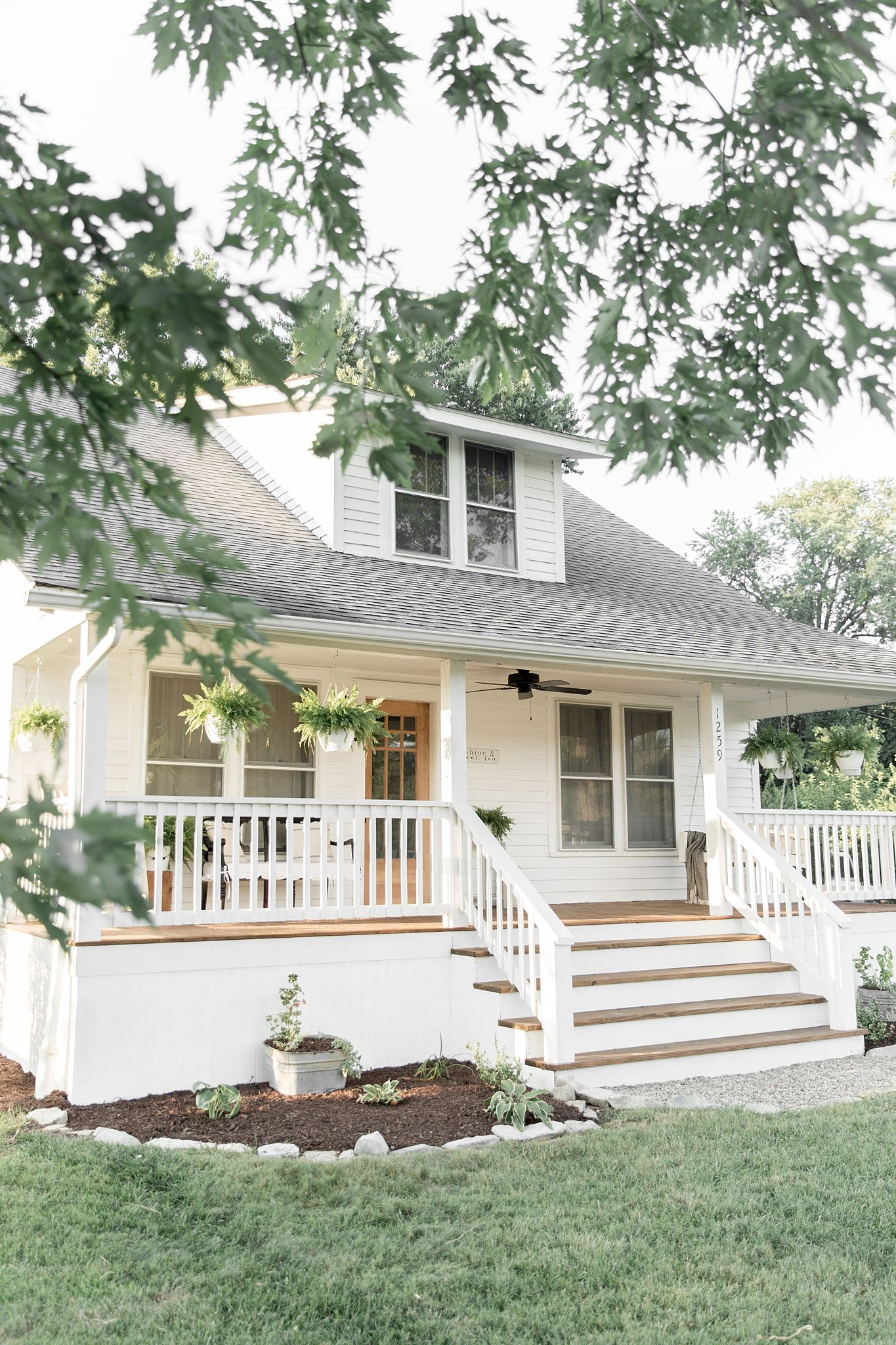 Farmhouse porch curb appeal makeover reveal craftsman bungalow