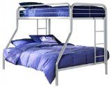 Designed to maximize space - accomodates 1 standard twin and 1 standard full mattress