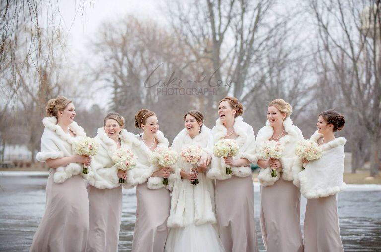 Bridesmaids And Bride Winter Wedding Attire. Taupe