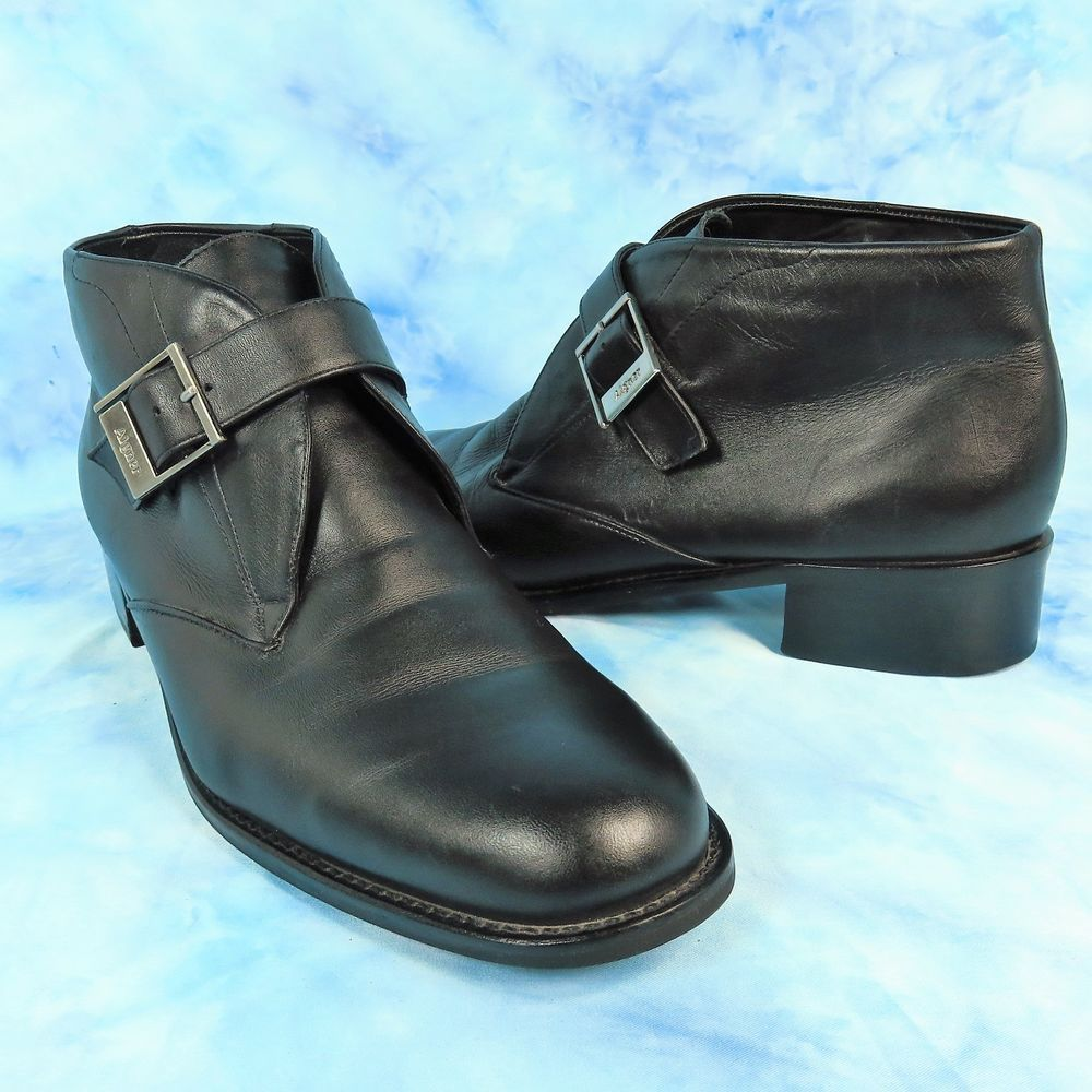 efe645834a8 Etienne Aigner Womens 9.5 M Black Leather Booties Monk Strap Buckle ...