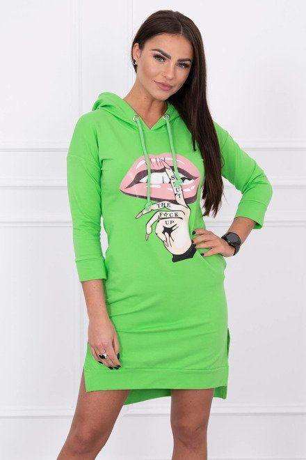 9fea83596573 Dámske športové mikinové šaty zelené