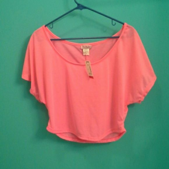Neon pink oversized shirt NWT neon pink oversized shirt. Beautiful color and perfect for summer! Size small. Tops