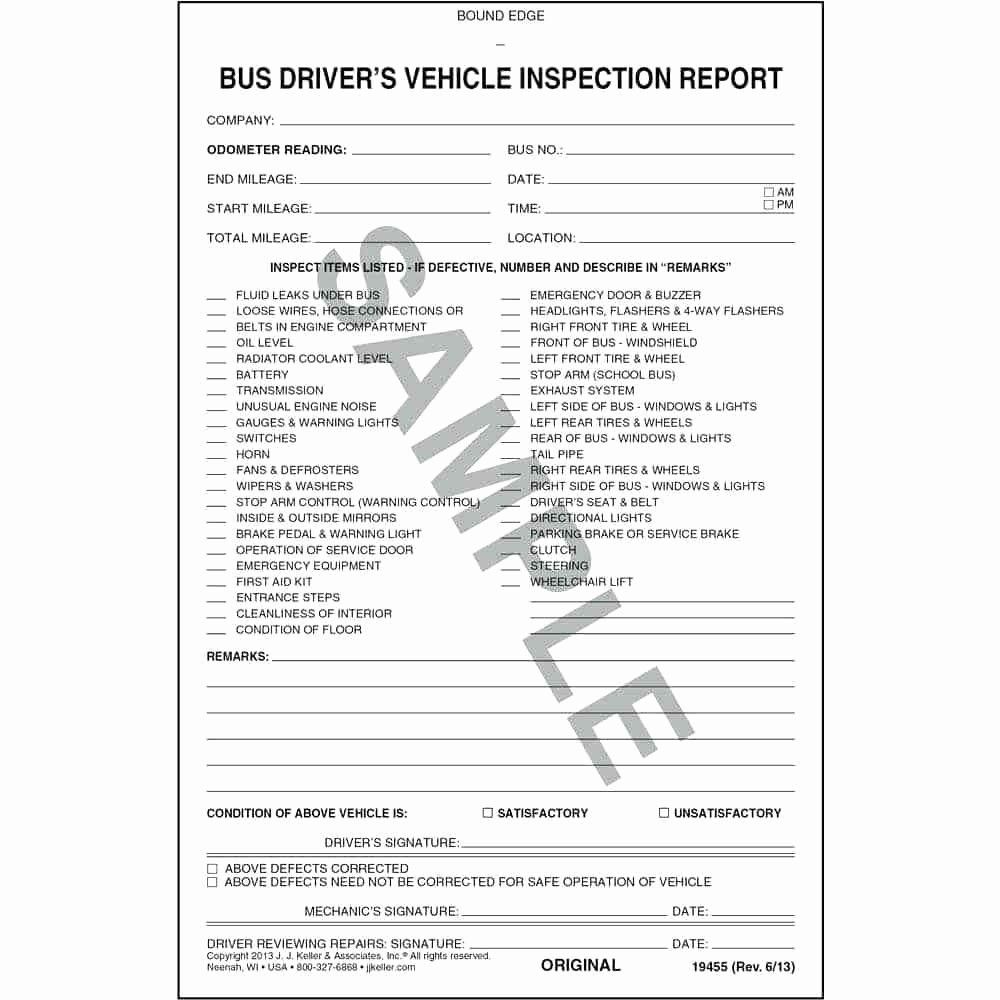 Driver Vehicle Inspection Report Template Unique Template