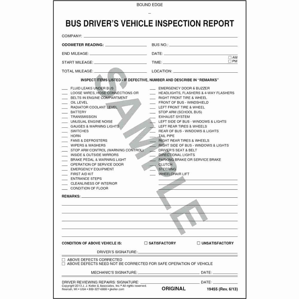 Driver Vehicle Inspection Report Template Unique Template