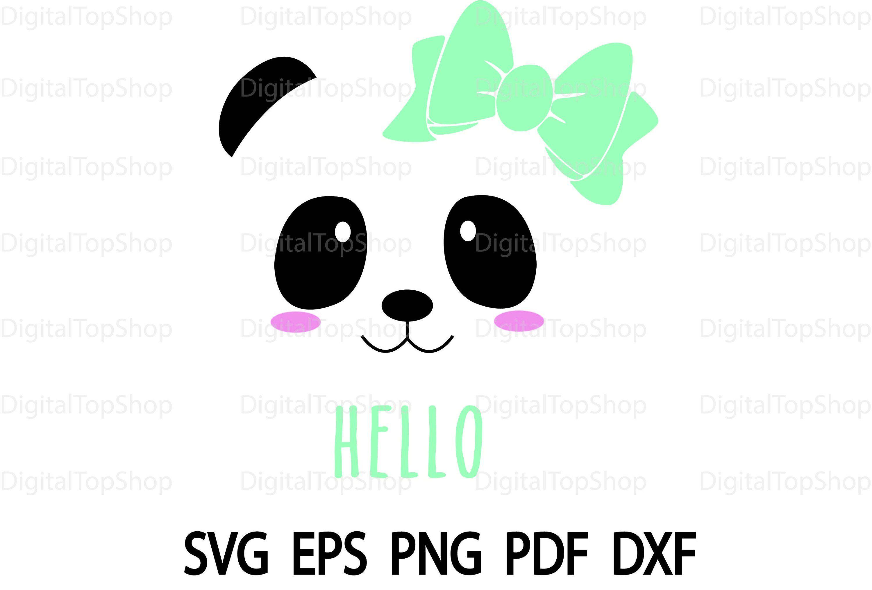 Panda Face Svg Baby Panda Svg Little Girl Shirt Cute Bear Clip Art for Cricut Digital Image Silhouette Cute Panda Svg Dxf Png Eps Vector #babypandas