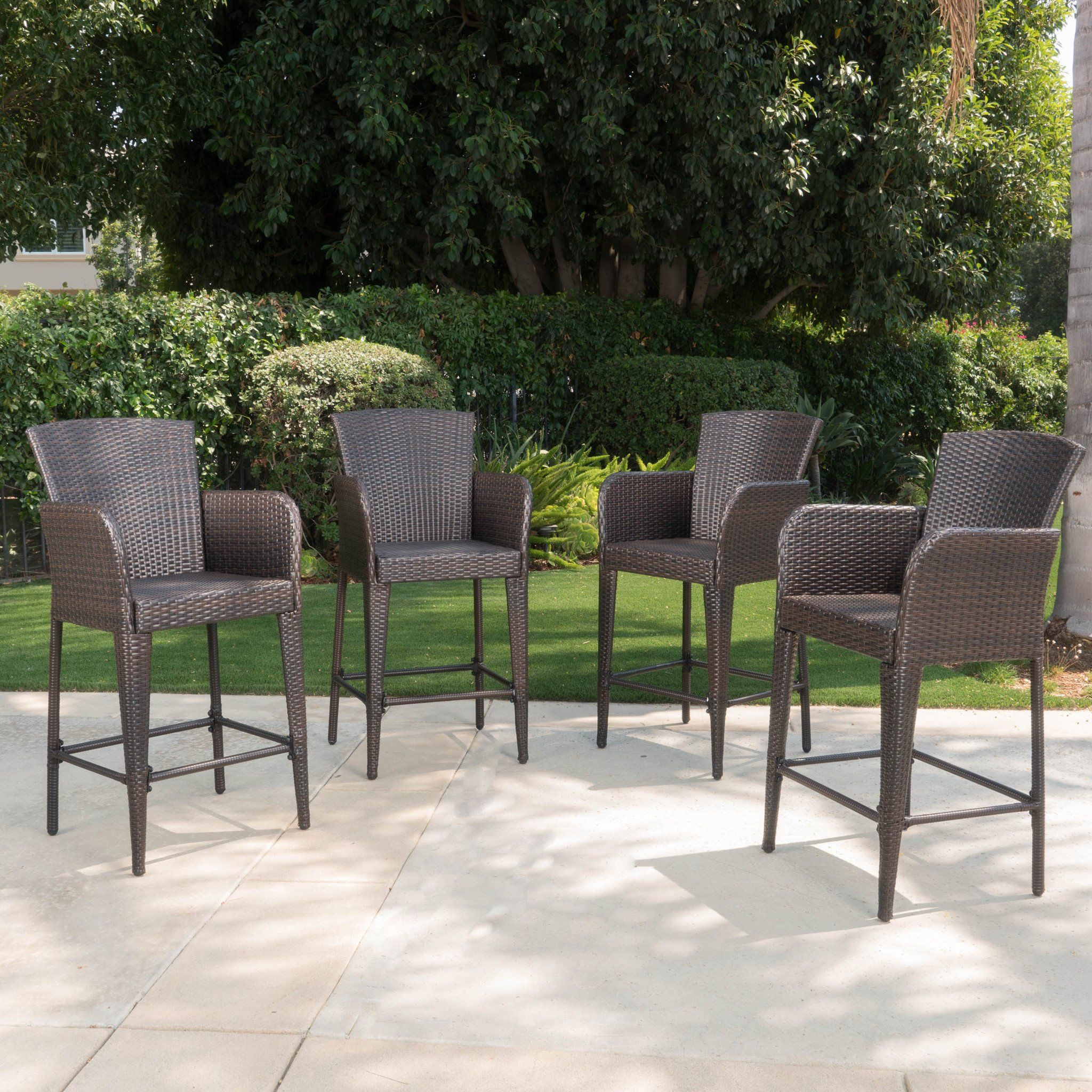 Bheleso 28 inch contemporary outdoor multibrown wicker barstool set of 4