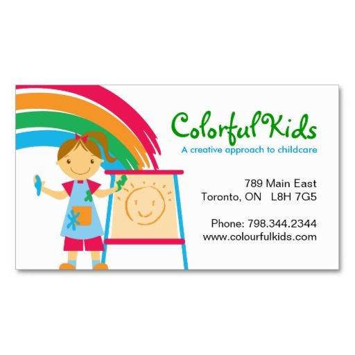 Fun Childcare Business Cards Zazzle Com Childcare Business Cards Childcare Business Colorful Business Card