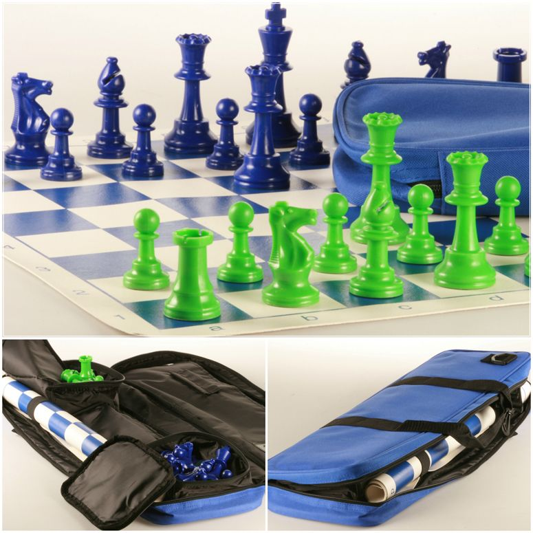 Club Chess Set Color Combo 2 Green And Blue Chess House Chess Set Blue Chess Board
